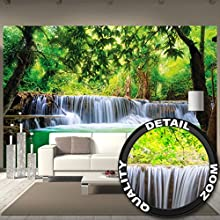 Foto mural Cascada de Feng Shui Decoración Naturaleza Selva Paisaje Paraíso Vacaciones Tailandia Asia Wellness Spa Relax I foto-mural foto póster deco pared by GREAT ART (336 x 238 cm)