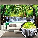 Foto mural Cascada de Feng Shui Decoración Naturaleza Selva Paisaje Paraíso Vacaciones Tailandia Asia Wellness Spa Relax I foto-mural foto póster deco