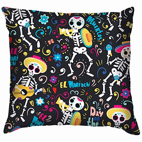 Day Dead Band Mariachi Skeletons Colored Funny Square Throw Pillow Cases Cushion Cover for Bedroom Living Room Decorative 18X18 Inch