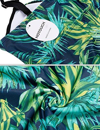 HOTOUCH Damen Bademode Tankini Mit Hotpants Set Push Up Two-Piece Bunten Badeanzug Typ1-Grün