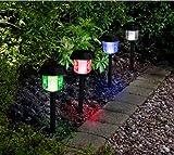 MTS - Farolillos solares para jardín (luz LED, cambian de color, 4 unidades)