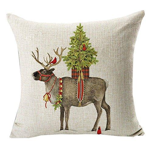 Pu ran -federa copricuscino con stampa natalizia, cane vestito da babbo natale, renna, decorazione per casa e divano #32 christmas deer