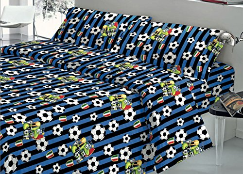 Biancheriaweb completo lenzuola in 100% cotone fantasia squadra di calcio inter matrimoniale inter