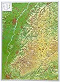 Schwarzwald 1:200.000 ohne Rahmen: Reliefkarte Schwarzwald 1:200.000 (Tiefgezogenes Kunststoffrelief)