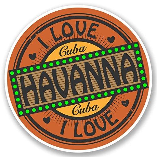 Preisvergleich Produktbild 2 x 10cm / 100mm Ich liebe Havanna Kuba Vinyl SELBSTKLEBENDE STICKER Aufkleber Laptop reisen Gepäckwagen iPad Zeichen Spaß 5013