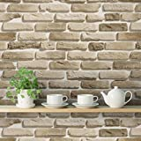 DeStudio 'Bricks Sand' Wallpaper Roll (PVC Vinyl Film, 40 cm x 1016 cm x 0.01)