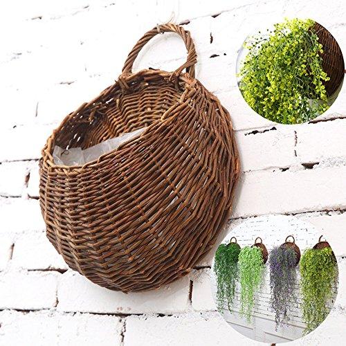 Tjw,1 cestino in vimini da parete a forma di vaso per fiori. cestino in rattan naturale da appendere al muro, ideale decorazione di casa e giardino