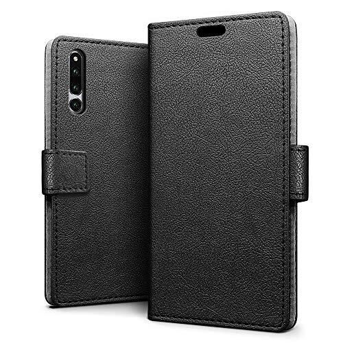 SLEO Hülle für Huawei Honor Magic 2,PU Leder Case Cover Tasche Schutzhülle Flip Case Wallet im Bookstyle für Huawei Honor Magic 2- Schwarz