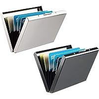 RFID Blocking Porta Carte di Credito, Leenou 2 Pezzi Portafoglio Carte Credito in Alluminio, Portafoglio Elegante Viaggi…