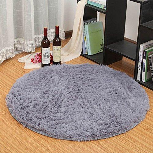 HTDirect Alfombra de dormitorio super suave y moderna circular sala de estar alfombra decorativa Shaggy suelo redondo alfombra juego guardería alfombra para baño, poliéster, gris, 80CMx80CM