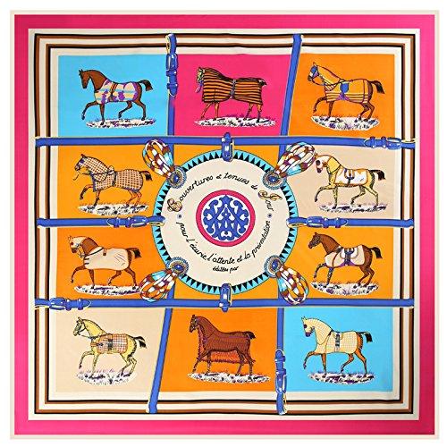 Seidenschal schal_10 Pferde twill Seide Schals Schal Seide, die Rote, 10 Pferde, 100 cm