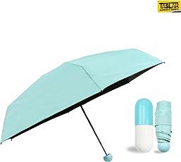 Taslar Ultra Light and Small Mini Umbrella with Cute Capsule Case Folding Compact Pocket (Blue)