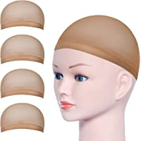 URAQT 4 Pièces Élastique Cap de Perruque, Nylon Wig Cap Bonnet Unisexe, chapeaux de perruque pour Homme et Femme, beige…