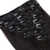 Clip-In-Extensions für komplette Haarverlängerung - hochwertiges Remy-Echthaar - 120 g - 50 cm - Naturschwarz - 1B