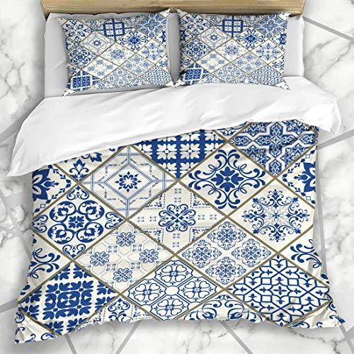 Soefipok Bettbezug-Sets Fashioned Pattern Patchwork Blau Weiß Farben Flourish Abstrakt Türkische Renaissance Vintage Alte Mikrofaser Bettwäsche mit 2 Pillow Shams -