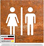INOXSIGN Vintage WC-Schild C.06.R – Selbstklebendes Retro Toiletten-Schild – klar erkennbar und werkzeuglose Montage – Unisex Kloschild – Shabby chic – Made in Germany