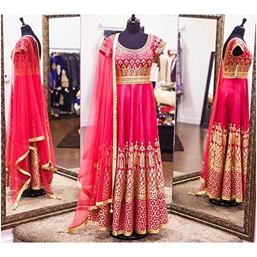 Vaankosh Fashion Women Pink Georgette Salwar Suit Dress Materials
