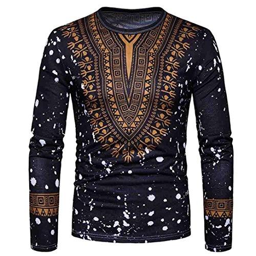 LHWY Shirt Herren, Männer Sweatshirt Mode Lässig Afrikanischen Print O Neck Pullover Langärmelige T-Shirt Top Schwarz Weiß Bluse (S, Schwarz) (Lange Kleid Herren Hose)