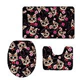 RedBeans Lovely Cat Puzzle accessorio bagno 3PCS Tappeto da bagno/Contorno Taglio/Toilette Coperchio rivestimento con morbida flanella