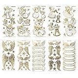 Gravur-Sticker, Engel & Engelsflügel, transparent/gold, 10 Bogen | Goldene Aufkleber zum Basteln & Dekorieren, Scrapbooking | Karten & Geschenke zu Geburtstag, Rente & mehr | Schutzengel-Motive