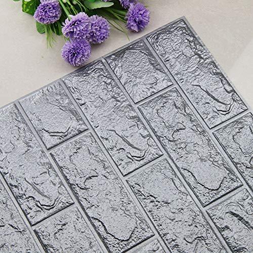 QHJ Aufkleber,DIY 3D Ziegel PE Schaum Tapete Panels Room Decal Stein Dekoration Geprägt Selbstklebender 3D Wandaufkleber Aus Backstein (70 * 77 cm), Silbergrau (Decals Kinder-spielzimmer)