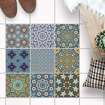 [ Carreau de Sol Stickers ] - Feuille adhésive décorative Carreau I  Mosaïque Sol - Stickers carrelage adhesif Sol Salle de Bains et Cuisine I  Design: ...
