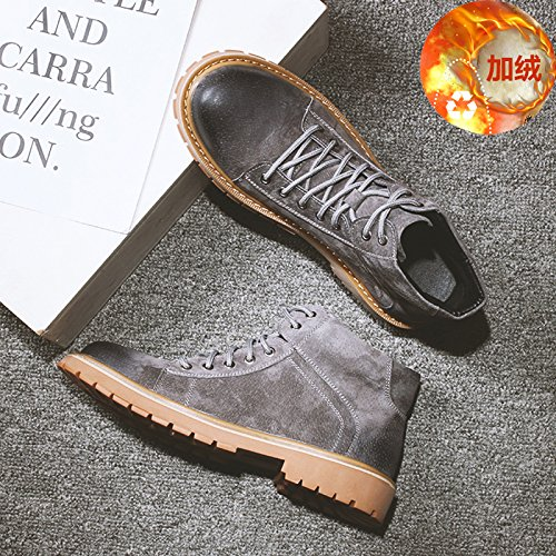 HL-PYL-Martin uomini stivali scarpe alte Tooling Stivali Stivali con bassa scarpe di cotone Grey and cashmere