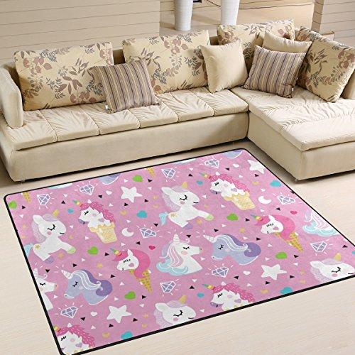 ingbags Super Weich Moderner Einhorn Pony ICE, ein Wohnzimmer Teppiche Teppich Schlafzimmer Teppich für Kinder Play massiv Home Decorator Boden Teppich und Teppiche 160x 121,9cm, multi, 80 x 58 Inch (Pony-teppiche)