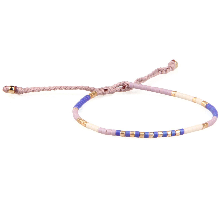 KELITCH Armband MischFarbe Rocailles Perlen Zart Schnur Freundschaftsarmbänder für Mädchen Damen - #04