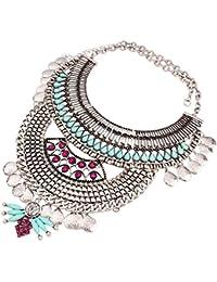 Yazilind 18K Ethnique Bib Strass Résine déclaration de Style Choker Collier  pour Bijoux Femmes Cadeau fa04a7eff777