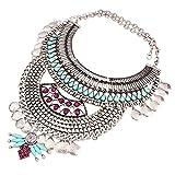 YAZILIND ethnische Art Resin Strass Bib Statement Choker Silber-Kragen-Halskette für Frauen Schmuck-Geschenk