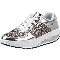Donna Sneakers Scarpe da Fitness in Pelle Piattaforma con Zeppa Palestra Walking Scarpe da Ginnastica passeggioda Ballo…