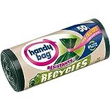 Handy Bag - 10 Sacs Poubelle 50 L, Lien Pratique, Recyclés, Résistant, Anti-Fuites, 68 x 80 cm, Vert Foncé, Opaque