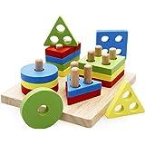 lewo träpedagogiska leksaker geometriska former blockerar brädestack sortera tjockt pussel