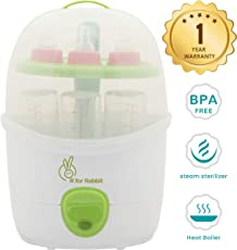 R for Rabbit Peter Fighter Plus - Electric Baby Bottle 2 in 1 Steam Sterilizer for Infants (Multi- 6 Bottles Container~ Auto Shut Down~0% BPA Free)