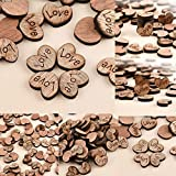 ILOVEDIY 100Pcs Embellissement Forme de Coeur en Bois avec Lettres pour Artisanat Décoration de Mariage (Love)