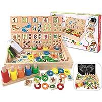 BBLIKE Material Montessori , Juguete de Madera Digital de Dibujo de Aprendizaje Caja con Multi Funciones ,Ideal Navidad Cumpleaños niños,Juguetes 2 3 4 5 Años