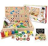 Montessori spielzeug, BBLIKE Abakus Rechnen und Spielen mit Zahlen Lernen.Rechenschieber Mathe Montessori Spielzeug aus Holz Rechenstäbchen Holz Zahlen Mathematik Spielzeug Ausbildung für Kinder (Mathe)