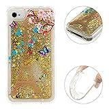 Moon mood iPhone 4/4S Gold Quicksand Softshell, iPhone 4 Etui/iPhone 4S Durchsichtige Hülle 3D Creative Case Crystal Clear Flüssig Transparente Kristallklaren Sparkly Silikon Weich Handy Back Cover