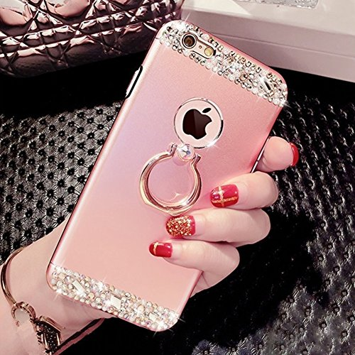 EUWLY Cover iPhone 7/iPhone 8 (4.7), iPhone 7/iPhone 8 (4.7) Case per Ragazza delle Donne, EUWLY Custodia Luxury Bling Crystal Sparkle Glitter Diamante Cover [360 Rotating Anello Supporto] Protezion Oro Rosa