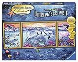 Ravensburger 28954 - Farbenfrohe Unterwasserwelt - Malen nach Zahlen Premium Triptychon, 100 x 40 cm