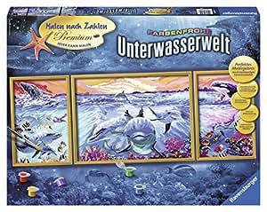 Ravensburger 28954 - Farbenfrohe Unterwasserwelt - Malen nach Zahlen Premium Triptychon, 100x40 cm
