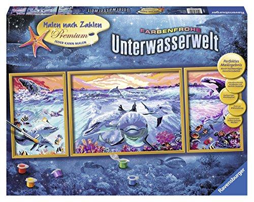 Farbenfrohe Unterwasserwelt - Malen nach Zahlen Premium Triptychon, 100 x 40 cm ()