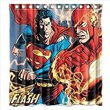 Custom Comic the Flash et Superman Rideau de douche imperméable rideau de douche en tissu de Polyester-Dimensions :  168 X 183 cm