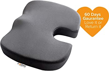 Fovera Comfort Non-Slip Orthopedic Coccyx Seat Cushion For Tailbone Pain , Back Pain & Sciatica Relief - Grey M (Below 80Kg Wt.)