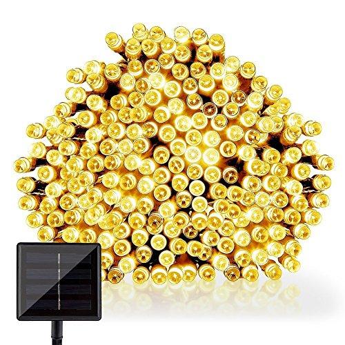 GDEALER Solar Lichterkette Außenlichterkette 10 Meter 100er LED Solarlichterkette mit 2 Modi Weihnachtsbeleuchtung für Hochzeit Party (Warmweiß)