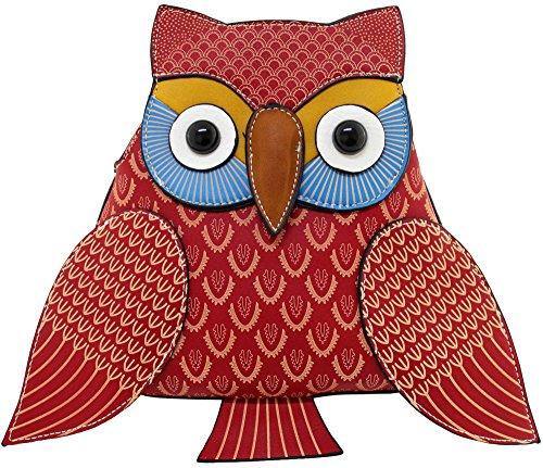 Kukubird Animal Owl Shape Faux Leather Handbag RED