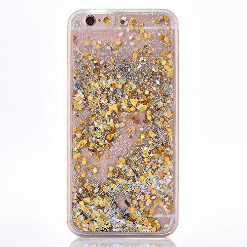 """Dur Plastique Protecteur étui pour Apple iPhone 6Plus/6sPlus 5.5""""(NON iPhone 6/6s 4.7""""), CLTPY Mode Beau Fluide Flottant Liquide Paillette Shiny Sables Mouvant Etui, Ultra Fine Clair Shell de Protecti Doré"""