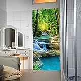 murimage Papier Peint Porte Chute d'eau 86 x 200 cm Photo Mural forêt lac Pierres Mur Jungle rivière Thaïlande Asie Bureau Cuisine Wallpaper Colle Inclus