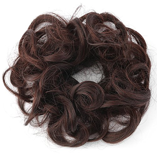 Frauen Tiara Satin Curly Chaotisch Bun Hair Twirl Stück Band Seil Scrunchie Perücken Extensions Friseur 7 Farbe (Hair Extensions Satin)